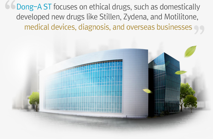 Dong-A ST focuses on ethical drugs,such as domestically developed new drugs like Stillen, Zydena, and Motilitone, medical devices, diagnosis, and overseas businesses